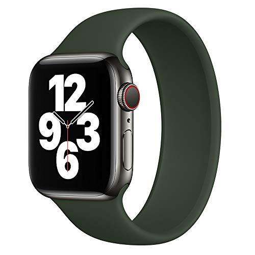 DYKL Correa de repuesto deportiva compatible con Apple Watch de 40 mm y 38 mm, bandas elásticas de silicona suave compatible con iWatch Series 6 5 4 3 2 1 SE (38 mm-40 mm/L, verde)