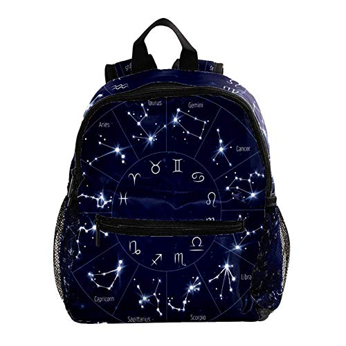 Kids Backpacks,Cute Lightweight Resistant Preschool Backpack for Boys and Girls Chest Strap Black Zodiac Constellation1