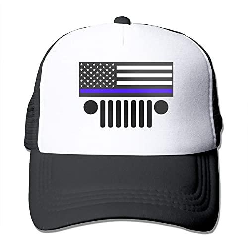 Yearinspace Gorra de béisbol con bandera azul de policía del coche, gorra de béisbol Snapback Hip Hop Funny Trucker Hat
