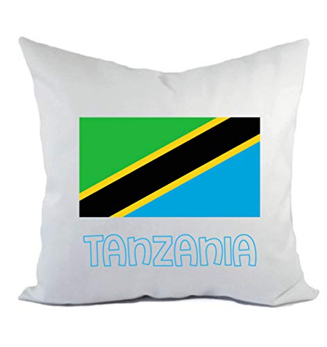 Typolitografie Ghisleri kussen wit Tanzania met vlag kussensloop en vulling 40 x 40 cm van polyester