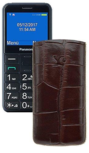 Suncase Original Tasche für Panasonic KX-TU 150 Leder Etui Handytasche Ledertasche Schutzhülle Hülle Hülle - Lasche mit Rückzugfunktion* In Croco-Braun