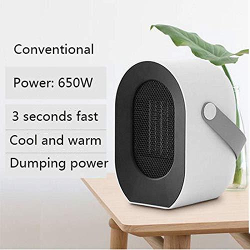 DAPENF kamerverwarming, draagbare elektrische ventilatorkachel, instelbare 650 W kamerradiator met thermostaat, mini-radiator voor op kantoor en thuis