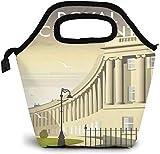 British Bath Town Royal Crescent Building Bolsa de almuerzo aislada personalizada Bento Box Picnic Cooler Bolso portátil almuerzo bolsa para mujeres y niñas