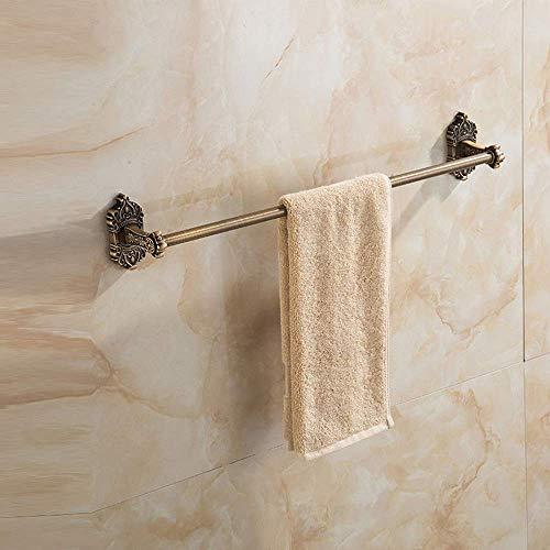 CMMT Estante de ba?o toallero de pared de 60 cm / 23 pulgadas Toallero de latón industrial antiguo Toallero de ba?o antiguo con albornoz colgante grabado, ducha de perforación de pared de estilo retro