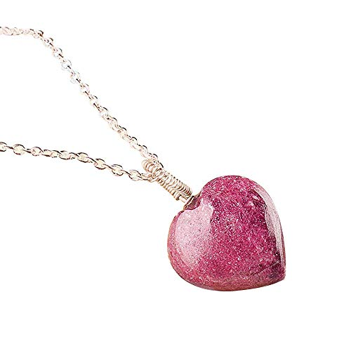 Natural Raw Thulite Heart Pendant Necklace in 925 Sterling Silver Gift for Women Personalized Gift