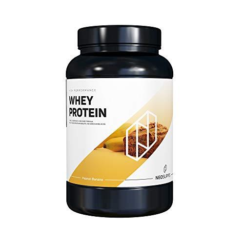 Premium Whey Protein für Muskelaufbau & Abnehmen in leckeren Geschmäckern   Low Carb Eiweiß-Shake, Eiweiß-Pulver mit Aminosäuren (BCAA)   1kg NeoSupps Protein Pulver – Erdnuss Bananenkuchen
