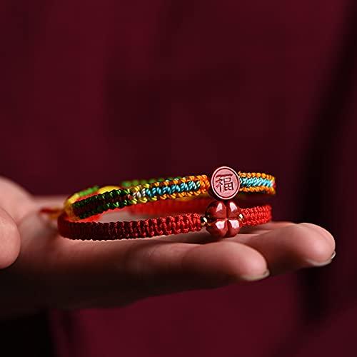 Cosaike CINA Natural CANACIÓN Feng Shui Pulsera Lucky Four Deja Hierba Charm Pulsera Braidada Red String Rope Bangle Amuleto para Año Natal Atraer Dinero Prosperidad Suerte