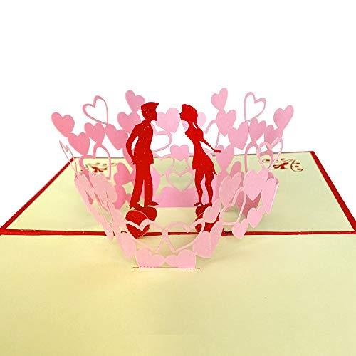 3D Grußkarte, Hochzeitskarten Romantik Faltkarte Geschenkkarte, 3D Pop-Up Karte Glückwunschkarte, Hochzeitseinladung (Liebe)