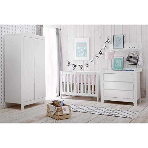 Chambre complète lit bébé 60x120 - commode à langer - armoire 2 portes Moon - Blanc