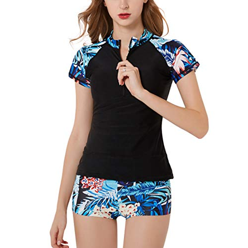 GWELL Damen Tankini Set mit Hotpants Badeanzug Bademode Schwimmshirt mit Reißverschluss Badeshirt Kurzarm + Badeshorts Schwarz 2XL