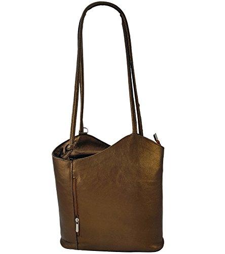 Freyday 2 in 1 Handtasche Rucksack Designer Luxus Henkeltasche aus Echtleder in versch. Designs (Bronze Metallic)