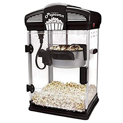 West Bend 82515B Machine with Nonstick Kettle Includes Measuring Cup Scoop Hot Oil Movie Theater Style Popcorn Popper, 4-Quart