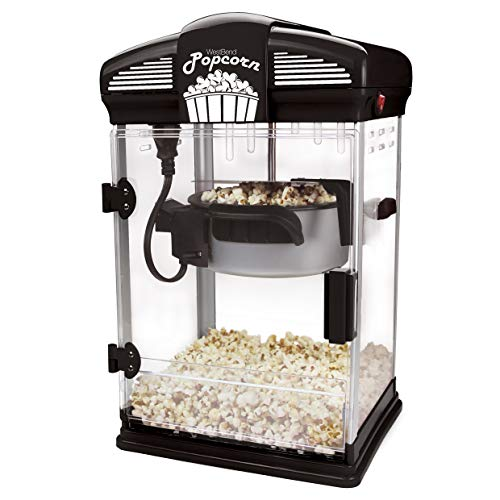 West Bend 82515B Theater Style Hot Popcorn Popper Machine with Nonstick Kettle Includes Measuring Cup Oil and Serving Scoop, 4-Ounce, Black