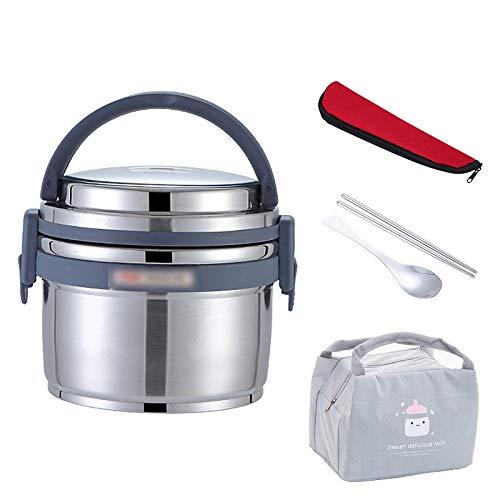 CHENC Fanh - Fiambrera de acero inoxidable con aislamiento térmico al vacío, a prueba de fugas, portátil, para niños, escuela, bento, contenedor de alimentos (color: plata)