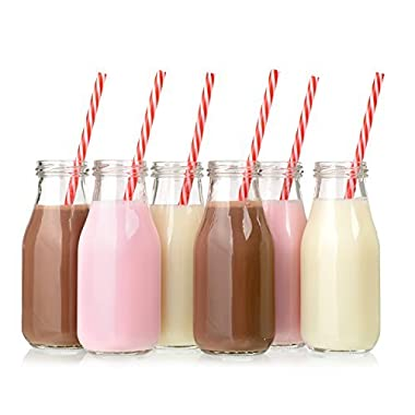 Set of 12-11 oz Glass Bottles with Lids, Vintage 11 oz Glass Milk Bottles with Lids, Vintage Breakfast Shake Container, Vintage Drinking Bottles for Party, Glass Bottle with Straw and Lid for Kids
