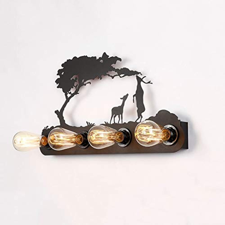 JIAQI Klassische Retro Pony Wandleuchte Persnlichkeit Kreative Wohnzimmer Schlafzimmer Nachttischlampe Restaurant Hotel Cafe Schmiedeeisen Wandleuchte (Farbe   B, watt   with 4 watt LED)