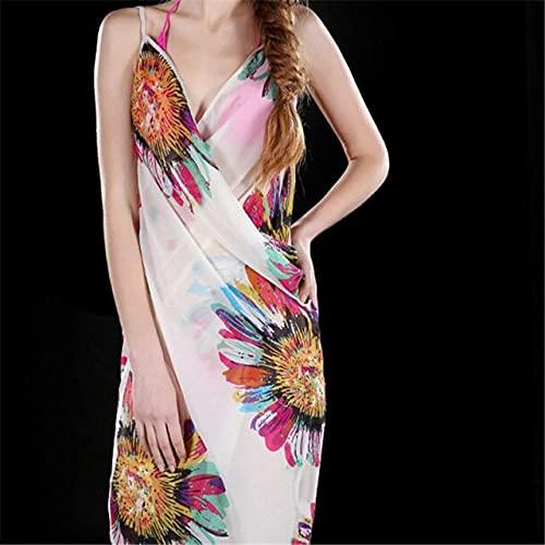 IAMZHL Vestido de Playa para Mujer Sexy Sling Beach Wear Dress Cover ups Wrap Pareo Faldas Toalla Flor Espalda Abierta-a20-b20