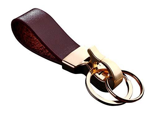 Cerbery®   Elegante llavero de cuero con anillos y caja de regalo   Llavero llavero llavero llavero coche foto grabado anillo   Señoras Hombres   Regalo (Oro)