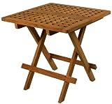 SeaTeak 60030 Square-Grate Top Folding Deck Table, Oiled Finish