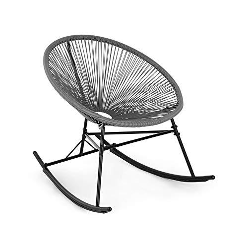 blumfeldt Roqueta Chair Schaukelstuhl im Retro-Design - Bespannung aus 4mm-Geflecht, Gestell aus pulverbeschichtetem Stahl, witterungsbeständig, grau
