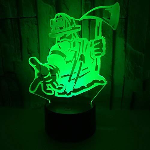 3D Lampe Nachttischlampe Feuerwehrmann mit Axt Nachtlicht Fürs Kinderzimmer, Led Lampe Fürs Wohnzimmer Perfekte Geschenke Für Kinder