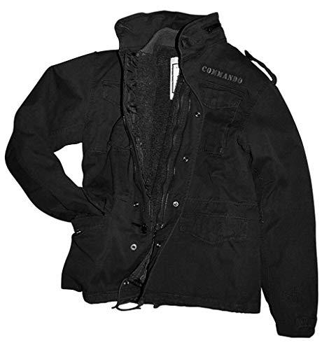 Field veste vintage m65 veste style parka en coton noir délavé-taille xL