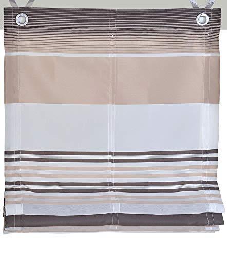 Kutti Raffrollo Ösenrollo Jamaica Querstreifen Farben braun Breite 120 x Höhe 130 cm