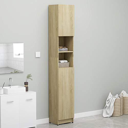 Cikonielf - Mueble de cuarto de baño, armario alto, armario con 4 estantes y 2 estantes abiertos, 32 x 25,5 x 190 cm, color roble Sonoma