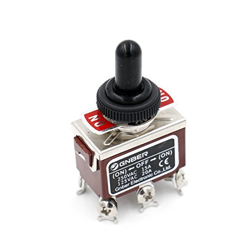 Baomain Momentary Toggle Switch DPDT (ON)-Off-(ON) 3 Position 6 Screw Terminal 125VAC 20A with Rainproof Cap Dpdt Momentary Switch Type