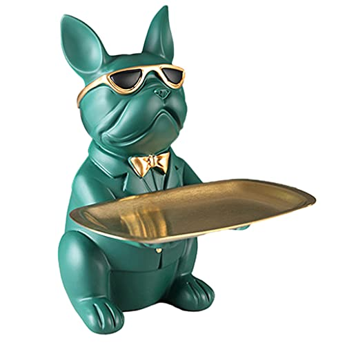 Guaber Bulldog Storage Tray, Cute Resin French Bulldog Figurines Statues Sculptures Holding Tray Keys Holder Candy Dish Jewelry Earrings Holder Bulldog Decorations for Home
