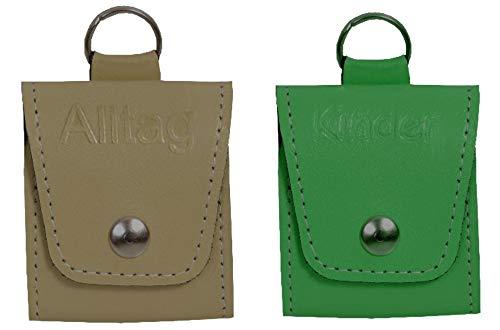 Homöopathische Taschenapotheken Notfalletui-SET 2 Stück in Leder mit Prägung + Braungläsern (UV-Schutz) und Etiketten (beige/grün)