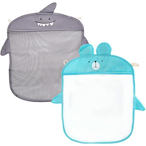Miotlsy 2 Stücke Badespielzeug-Aufbewahrung, Bad Spielzeug Organizer, Badezimmer Hänge Netz Baby Badewanne Spielzeug Aufbewahrungstasche, Rosa, blaue Badezimmer Netztasche