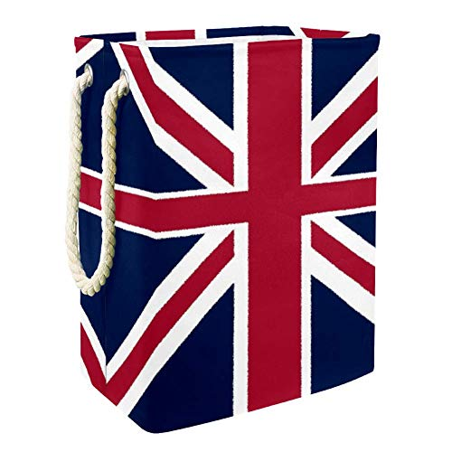 Nobrand Wäschekorb mit Union Jack-Flagge, für Wäschekörbe, integriertes Futter mit abnehmbaren Klammern, faltbarer Wäschesammler für Spielzeug und Kleidung