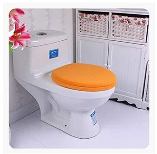 2pcs / Set de baño Color sólido de acrílico WC Engrosada Botón Asiento de Tipo Estera del tocador de Twinset U/Ronda/WC Plaza Cubierta de la Tapa del cojín (Color : Naranja)