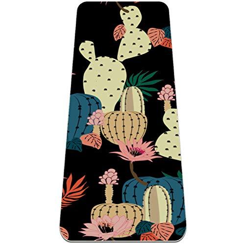 BestIdeas Esterilla de yoga de cactus negro para yoga, pilates, ejercicio de suelo para hombres, mujeres, niñas, niños, principiantes, diseño antideslizante