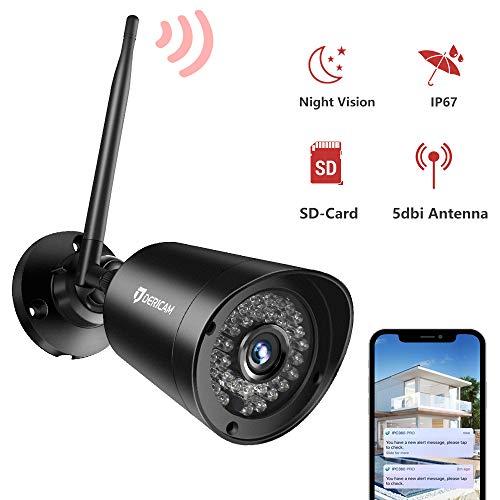 Dericam Überwachungskamera Aussen,1080P WLAN Kamera Outdoor Wasserdicht, Bewegungserkennung,Nachtsicht,Externer Speicherkartensteckplatz Verfügbar, B2, Schwarz