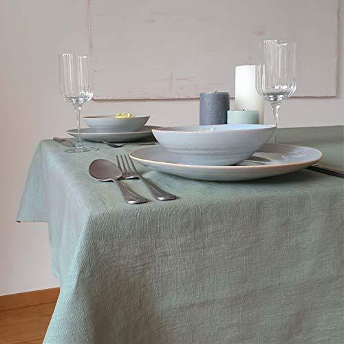 Hochwertige Tischdecke, Leinentischdecke, Tischtuch aus 100% Leinen   Dicke Qualität   Mit Liebe in Deutschland genäht   Viele Größen & Farben   edel & pflegeleicht   135x135 cm (LxB)  Uni Salbei