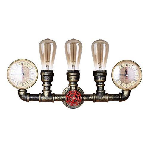 LLLKKK Lámpara de pared con 3 cabezales, estilo steampunk, metal, estilo retro, industrial, para cafetería, bar, restaurante, club, lámpara de pared E27