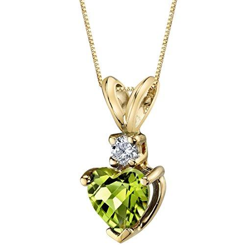 14 Karat Yellow Gold Heart Shape 1.00 Carats Peridot Diamond Pendant