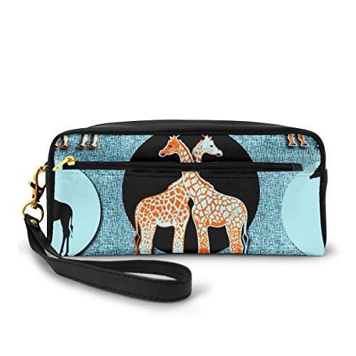 Love Giraffe Zottelteppich großes Fassungsvermögen Canvas Federmäppchen Federmäppchen Beutel Schreibwaren Tasche Make-up Kosmetiktasche