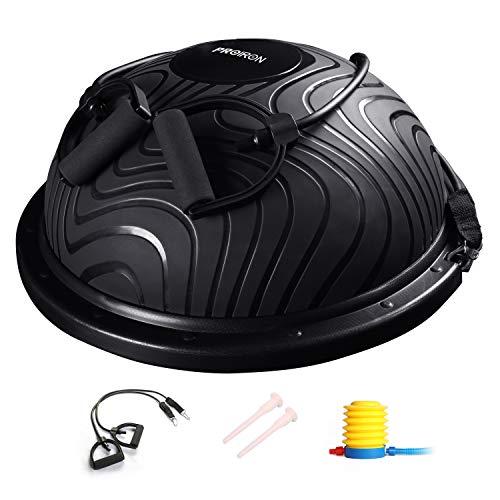 PROIRON バランスドーム バランスボール 半球 バランスボード 耐荷重300kg 長さ60X幅60X高さ23�p 重量5kg 3色 レジスタンスバンド付き 空気入れ付き (黒)