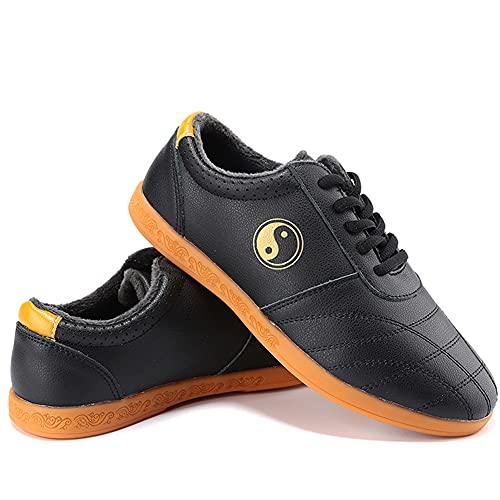 Zapatos de Artes Marciales Tai Chi Unisex,Zapatos Invierno de Kung Fu Taekwondo para Hombres y Mujeres, Adulto Suela Oxford Zapatillas de Entrenamiento Deporte para Boxeo, (Size:42EU/11US,Color:negro)