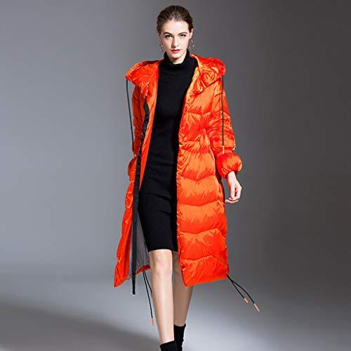 Donsjassen voor dames, lange warme winterjassen met capuchon lichtgewicht witte eend omlaag kleding, elastische mouwen