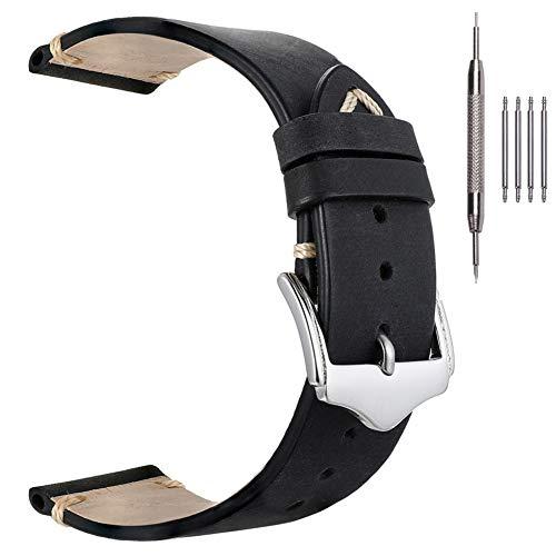 Correas de Reloj para Hombre, EACHE Correas de Reloj de Cuero Crazy Horse 22mm Retro Watchbands Negro