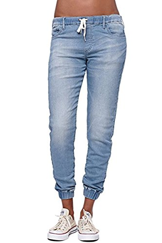 Pxmoda Damen Jogger Denim Hosen Elastische Kordelzug Taillierte Stretchy Casual Blue Jeans (Blau, Small)