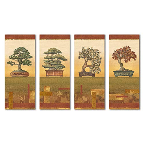 Bonsai I Classic, Retro Japanese Bonsai Trees; Four 8X20 Poster Prints