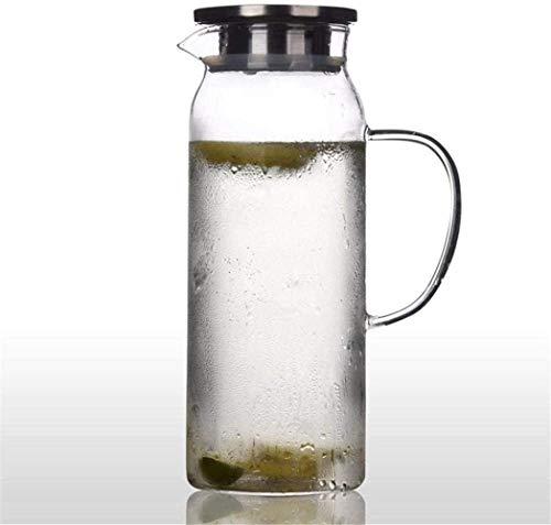 Jarra de vidrio Jarra de la tetera de vidrio de la jarra de agua con tapa helada y manija Borosilicate Jarra de vidrio resistente al calor para el té / agua fría caliente / del vino de hielo Café Lech
