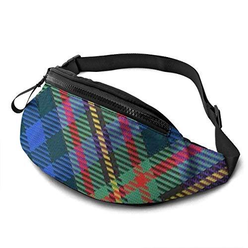 OPLKJ Scots Style Clan Menzies Hunting Tartan Plaid Adjustable Fanny Running Waist Pack Bag