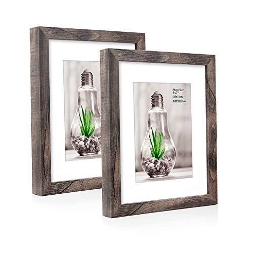 Metrekey 2er Set Bilderrahmen 20x25 cm Walnuss Holzmaserung aus MDF für Bildformate 13x18 cm mit Passepartout,Wandhängend oder Freistehen