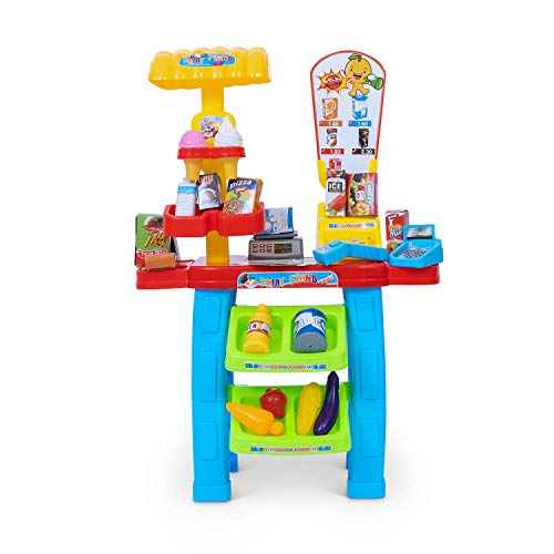 JoyKip Puesto móvil de Compra Comida para Fingir y Jugar de supermercado y Registro de Tarjetas - Cesta Compra con Escáner, Comida, Dinero y Tarjeta para Niños